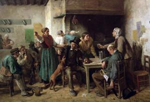 Wine Shop Monday, 1858 by Jules Breton