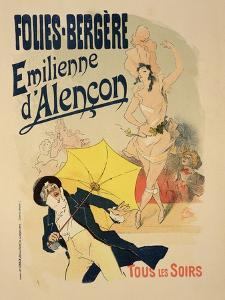 """Reproduction of a Poster Advertising """"Emile D'Alencon,"""" Every Evening at the Folies-Bergeres, 1893 by Jules Ch?ret"""