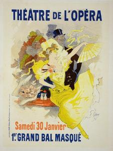 """Reproduction of a Poster Advertising the First """"Grand Bal Masque,"""" Theatre De L'Opera, Paris, 1896 by Jules Ch?ret"""