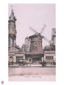 1889 Carte Postal colorée Moulin Rouge by Jules Chéret