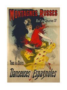 Poster Advertising 'Danseuses Espagnoles' at the Boulevard Des Capucines, Paris by Jules Chéret