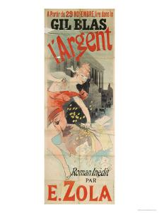 Poster Advertising the Publication of L'Argent by Emile Zola by Jules Chéret