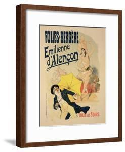 """Reproduction of a Poster Advertising """"Emile D'Alencon,"""" Every Evening at the Folies-Bergeres, 1893 by Jules Chéret"""