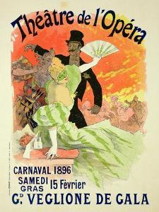 Reproduction of a Poster Advertising the 1896 Carnival at the Theatre De L'Opera by Jules Chéret