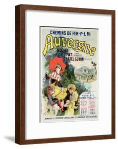 """Reproduction of a Poster Advertising the """"Auvergne Railway,"""" France, 1892 by Jules Chéret"""