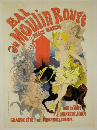 """Reproduction of a Poster Advertising the """"Bal Au Moulin Rouge,"""" 1889"""