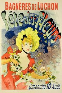 Reproduction of a Poster Advertising the Flower Festival at Bagneres-De-Luchon, 1890 by Jules Chéret