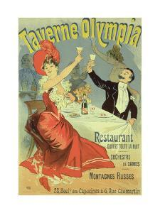 """Reproduction of a Poster Advertising the """"Taverne Olympia,"""" Paris, 1899 by Jules Chéret"""