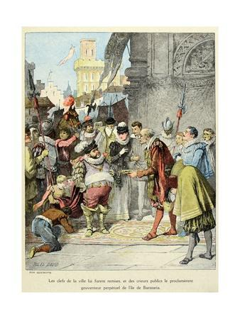 Sancho Panza Becomes Governor of the City of Barataria. 'Story of Don Quixote,' by Jules David.
