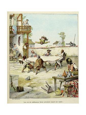 Sancho Panza Mauled at the Tavern. 'Story of Don Quixote,' Illus. by Jules David.