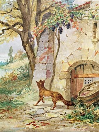 The Fox and the Grapes, Illustration For Fables by Jean de La Fontaine