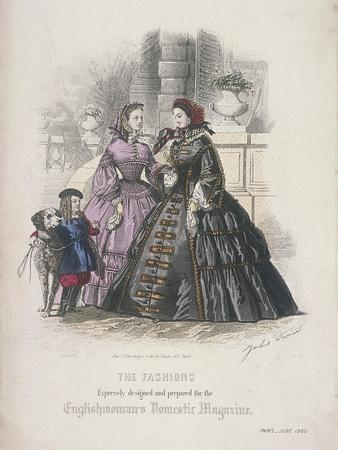 Two Women and a Child with a Dog Wearing the Latest Fashions, 1860