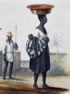 Woman Carrying Child and in the Background a Soldier, Santiago, Cape Verde Archipelago by Jules Dumont D'Urville