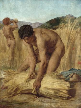 Moissonneurs dans la campagne romaine