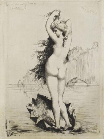 Pendentif : déesse nue montée sur un lion et encadrée de serpents, maîtrisant deux caprins