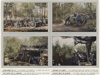 Artillerie De 75, Obusier En Foret, Une Piece De 75 Abritee, Grosse Piece De Marine