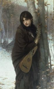 A Gypsy Girl with a Mandora by Jules Joseph Lefebvre