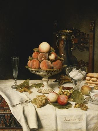 Peaches in a Dresden Tazza, Grapes, Apples, Hazelnuts and Biscuits on a Draped Table