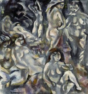 Eight Woman Arranged About the Landscape, Huit Femmes Autour D'Un Paysage, 1917 by Jules Pascin
