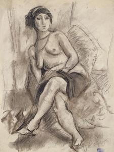 Seated Nude Model, C.1925-26 by Jules Pascin