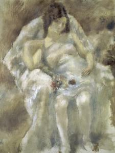 Young Girl Seated with Flowers by Jules Pascin
