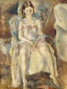 Young Girl Sitting by Jules Pascin
