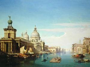 Entrance to the Grand Canal, Venice, with the Church of Santa Maria Della Salute by Jules Romain Youant