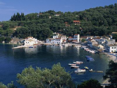 Aerial View over Loggos Harbour, Paxos, Ionian Islands, Greek Islands, Greece, Europe