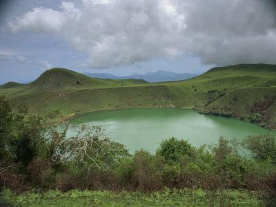 Crater Lake at Manengouba, Western Area, Cameroon, West Africa, Africa