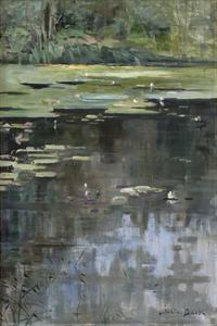 River Landscape with Water Lilies by Julia Beck