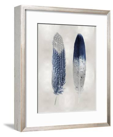 Blue Feather Pair on Silver