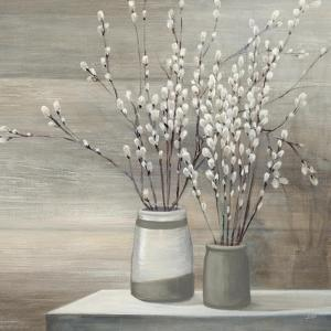 Pussy Willow Still Life Gray Pots Crop by Julia Purinton