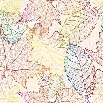 Autumn Transparent Maple Leaves Pattern Background. Colored Art Vector Autumn Leaves Pattern. Fabri