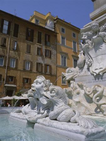 Fountain in Piazza Della Rotonda Outside Pantheon, Rome, Lazio, Italy, Europe