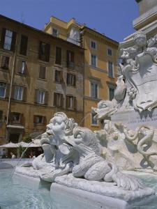 Fountain in Piazza Della Rotonda Outside Pantheon, Rome, Lazio, Italy, Europe by Julia Thorne