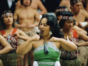Maori Poi Dancers, Waitangi, North Island, New Zealand by Julia Thorne