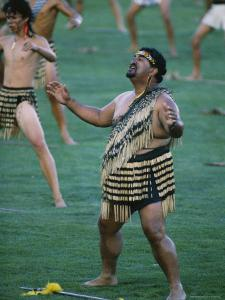 Maoris Perform Traditional Action Songs, Auckland, North Island, New Zealand by Julia Thorne