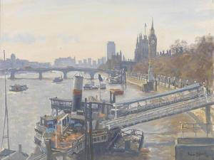 Westminster from Hungerford Bridge, 2010 by Julian Barrow