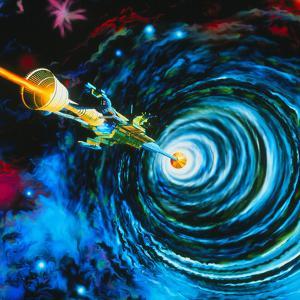Artwork of Bussard RamScoop Starship by Julian Baum