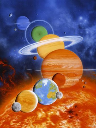 Artwork of Sun And Planets of Solar System