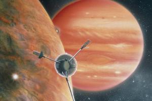 Artwork Showing Galileo Spacecraft Nearing Jupiter by Julian Baum