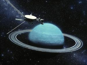 Artwork Showing Voyager 2's Encounter with Uranus by Julian Baum