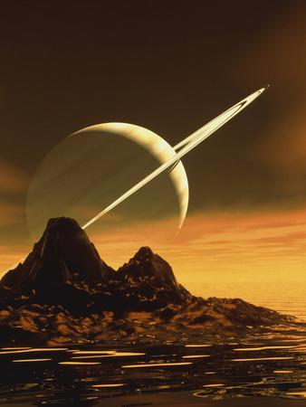 Computer Artwork of Titan's Surface And Saturn