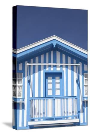 A Blue Candy-Striped Beach House in Costa Nova, Beira Litoral, Portugal