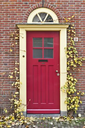 A Traditional Doorway in Autumn Colours, Old Town Utrecht, Netherlands