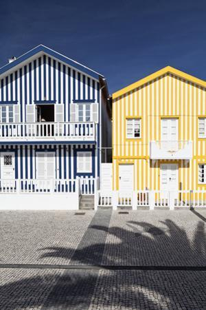 Candy-Striped Painted Beach Houses in Costa Nova, Beira Litoral, Portugal