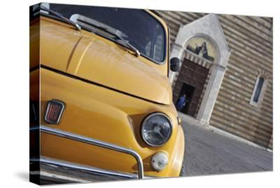 Classic Fiat 500 Car Parked Outside Church, Montepulciano, Tuscany, Italy