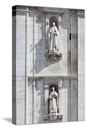 Detail of the Classical and Baroque Style Front Facade of Cathedral Se Nova Coimbra Portugal