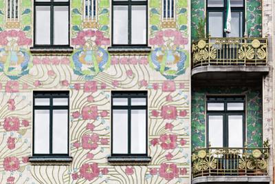 Facade of Jugendstil Style Majolikahaus (Majolica) House at No