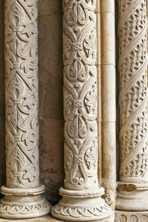 Intricately Carved Stone Pillars at the Main Portal Entrance to the Old Cathedral Se Velha Coimbra
